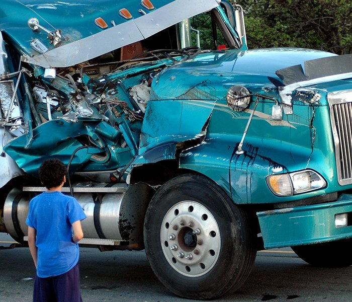 Blue truck in an accident in New York City